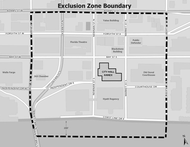 exclusion zone boundary map
