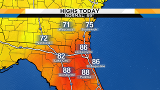 Record breaking warmth this afternoon, scattered showers cool us down