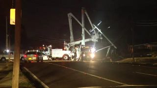 New power pole installed after overnight crash causes outage