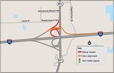 New Traffic Patterns To Be In Place For I 10 And Us 301 Drivers - Us-interstate-10-map