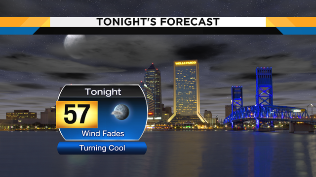 Turning cool overnight, evening showers tomorrow