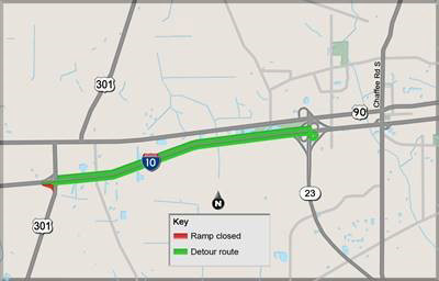 I 10 Eastbound Exit Ramp To Us 301 Scheduled To Close - Us-interstate-10-map