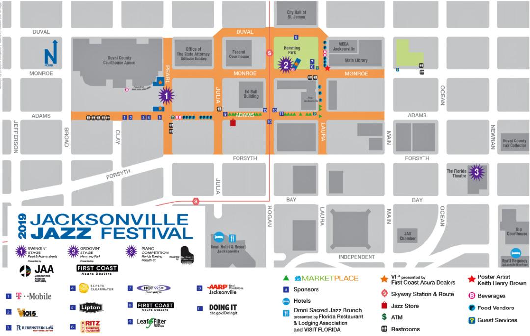 2019 Jacksonville Jazz Festival map
