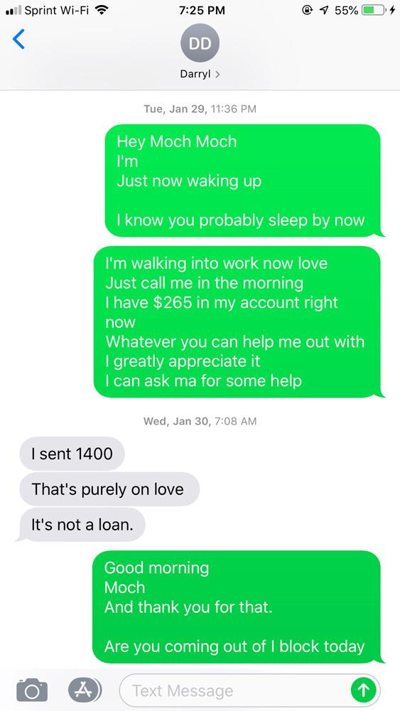 Cierra Smith's screen grab of texts