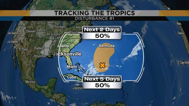 First tropical disturbance of season strengthening as it aims towards Bermuda