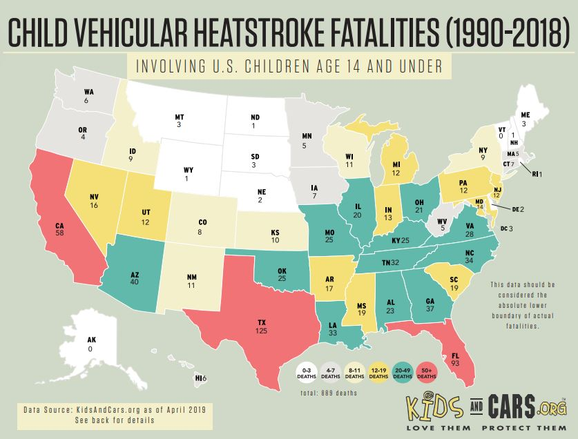 State-by-state map of hot car deaths