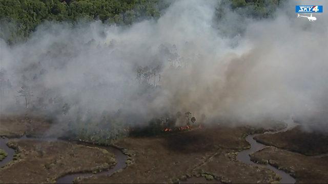 Wildfires burning near U.S. 17 & Yellow Bluff Road