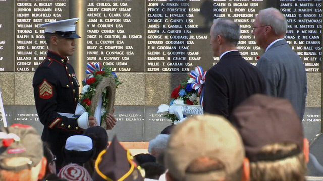 City pay its respects, adds 4 names to Jacksonville Veteran's Memorial Wall