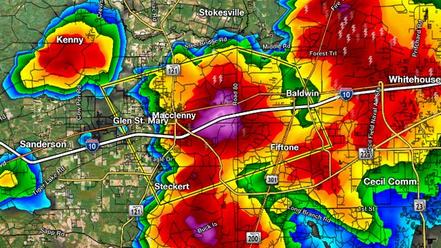Severe Thunderstorm Warning for Baker, Nassau & Duval, Flood Warning for Duval