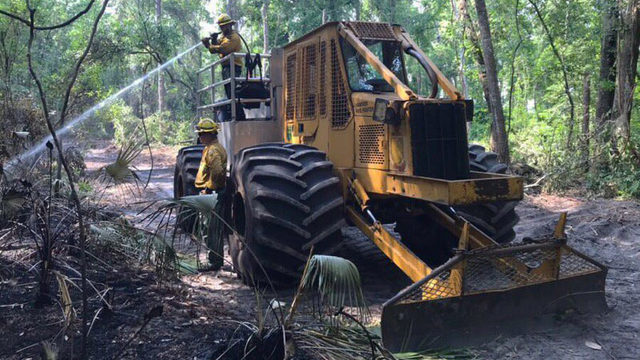 Firefighters make progress against Yellow Bluff wildfire
