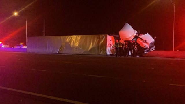 Semi-trailer overturns in crash on I-95 north at Old St. Augustine Road