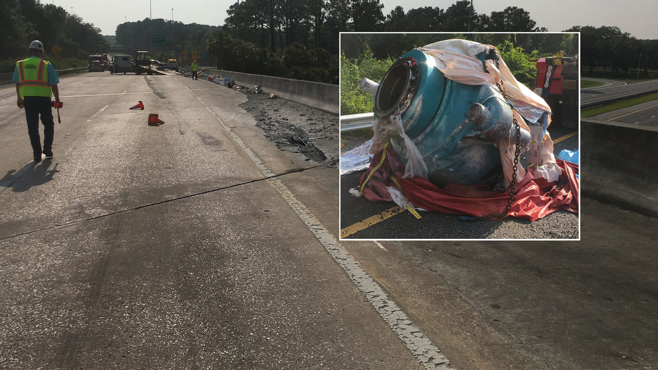 I-75 & I-10 open in Columbia County after machinery falls off
