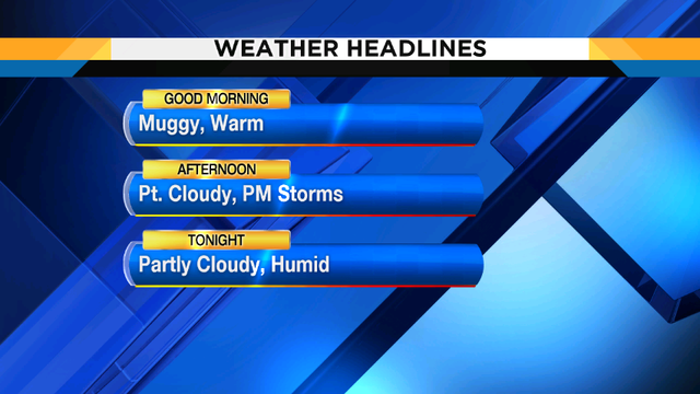 Hot and humid with scattered showers, storms