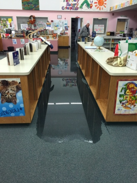 Flooding at Andrew Robinson Elementary caused by leak in sprinkler pipe