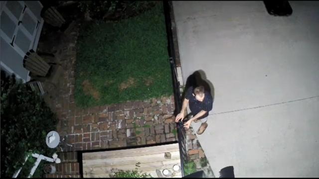 Suspicious man caught on surveillance camera in Riverside