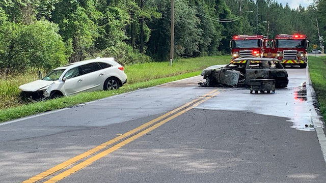 JFRD: 2 drivers rushed to hospital after fiery crash in rural Jacksonville