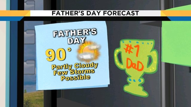 Summer-like temperatures, storms return on Father's Day