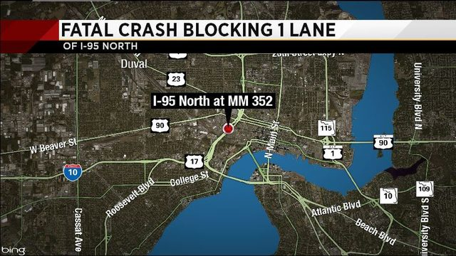 1 dead in crash on I-95 near downtown Jacksonville