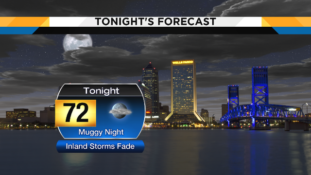 Inland storms fade tonight, work week looks wet