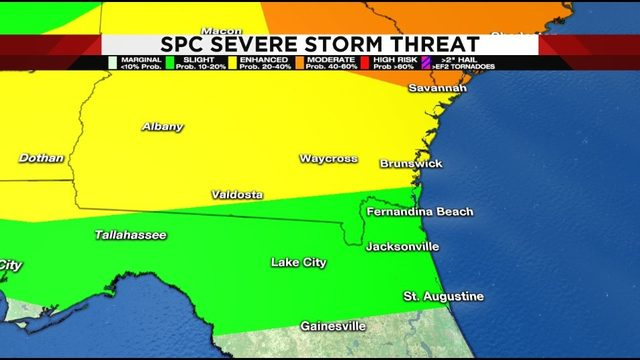 Potential for severe storms in Southeastern Georgia this evening