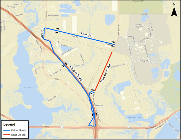 New Berlin Road detour map provided by JEA