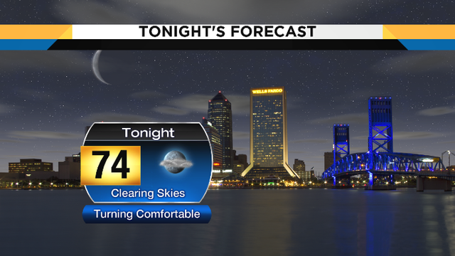 Turning comfortable and drying out tonight, some storms in the weekend forecast
