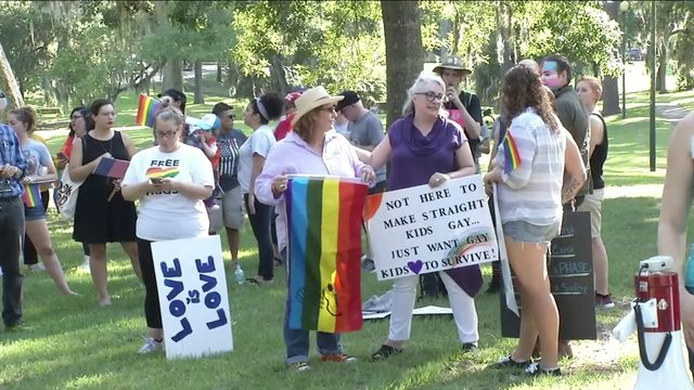 Dozens demonstrate over halted LGBTQ prom