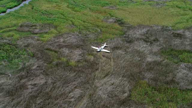 Small plane runs out of fuel, crashes in Brunswick marsh
