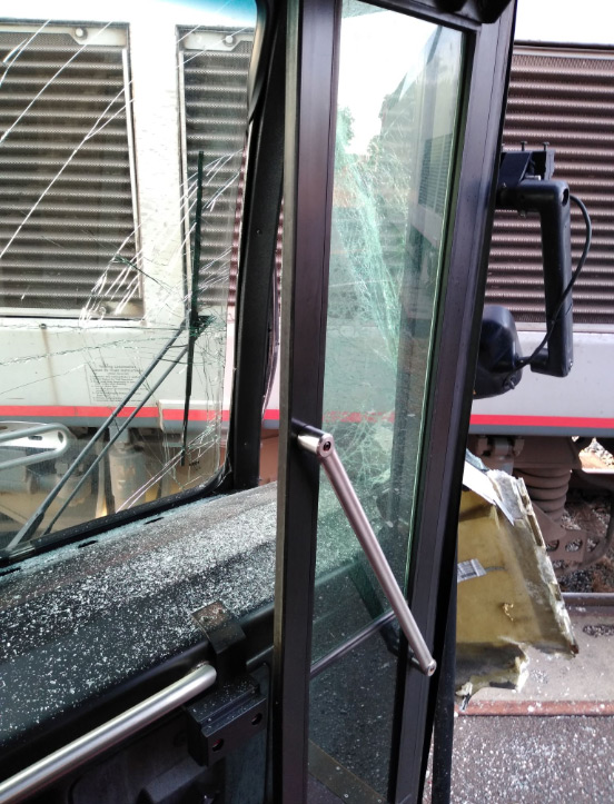 photo from inside bus hit by train