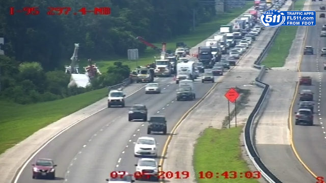 WATCH LIVE: I-95 northbound slow at Flagler-St. Johns line due to semi crash