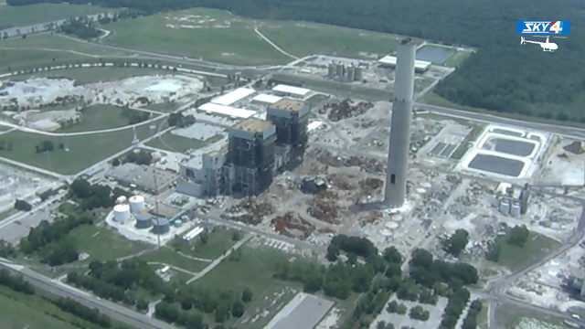 Power plant's smokestack, boilers to come down with a bang
