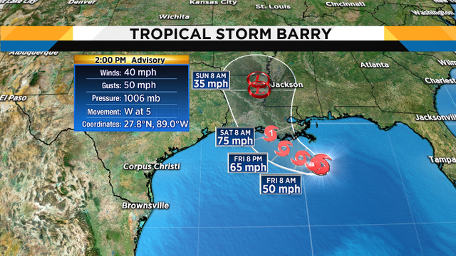 Tropical Storm Barry drifting slowly westward in the Gulf