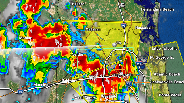 Severe Thunderstorm Warning for Duval, Nassau County until 6:45p.m.