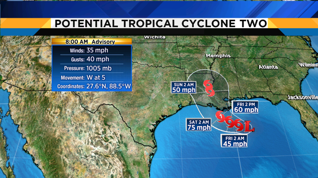Tropical Storm Barry hours away from being named