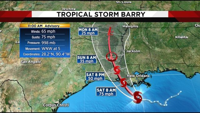 Tropical Storm Barry strengthens in the Gulf, expected to reach…