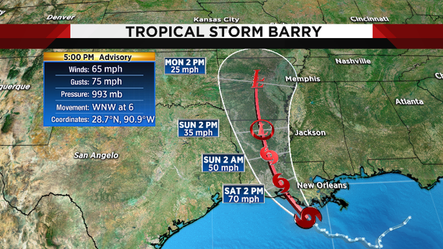 Barry expected to intensify into a hurricane and turn toward Louisiana