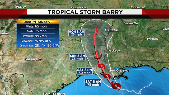Tropical Storm Barry expected to intensify into a hurricane and turn…