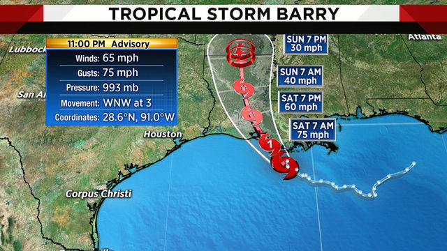 Barry expected to become hurricane before hitting Louisiana