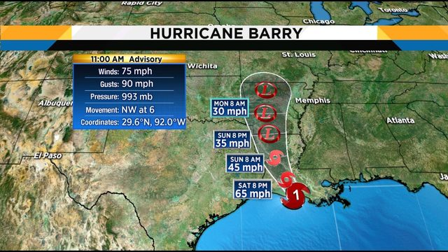 Barry becomes a hurricane as it moves onshore