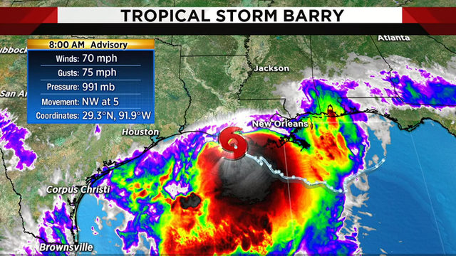 Barry expected to reach hurricane strength before landfall