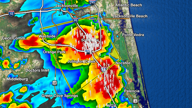 Severe Thunderstorm Warning for St Johns, Duval, clay until 2:30