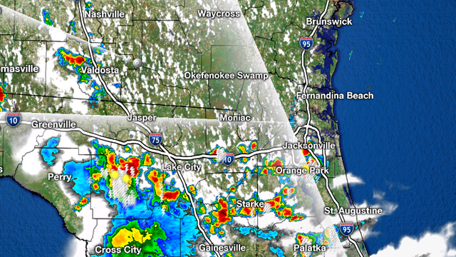 Scattered showers, thunderstorms firing up, should fade around sunset