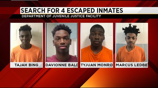 Search for escaped inmates from Department of Juvenile Justice Facility