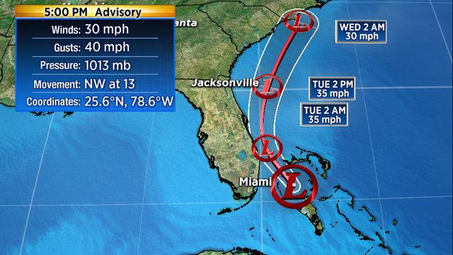 System off South Florida coast becomes tropical depression
