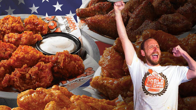 Hot dog champ has wing eating marathon on National Chicken Wing Day