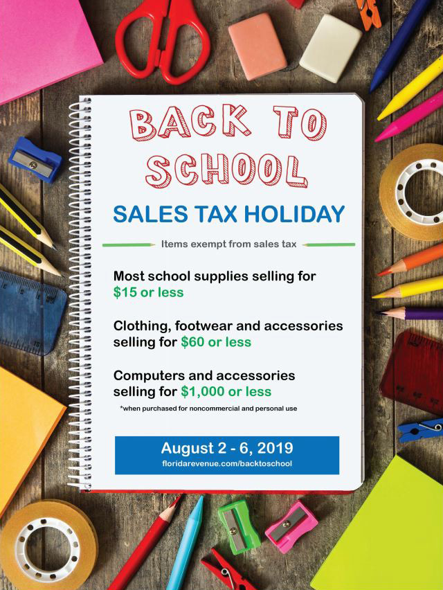 School supplies sales tax holiday poster