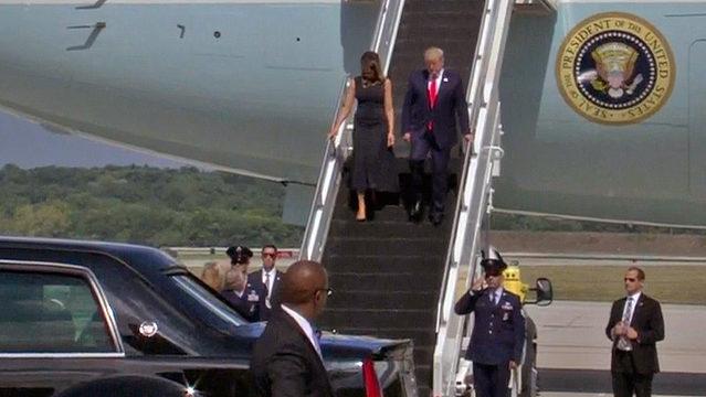 Trump arrives in Dayton, heads to El Paso, facing protests