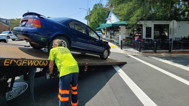 Close call: Car narrowly misses Metro Diner in San Marco
