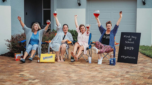 Florida moms toast first day of school with wine & doughnuts