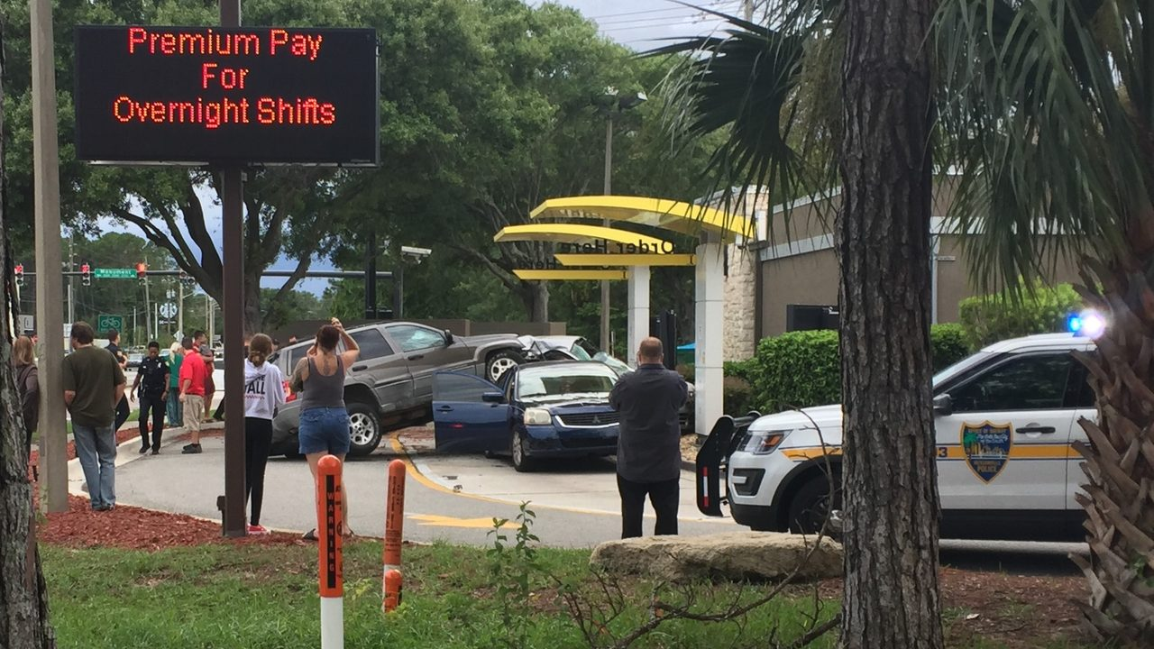 Three car accident in McDonald's Drive-Thru on Monument Road